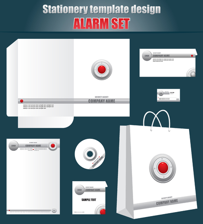 ide: Stationery template design ALARM set, identity for security agency Illustration