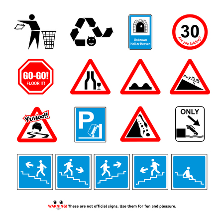 incorrect: Incorrect, funny signs, joke vector illustrations, set Illustration