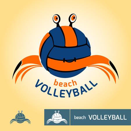Symbol für Beach-Volleyball-Meisterschaft, Turnier oder ein Team, abstrakte Krabben, Vektor-Vorlage