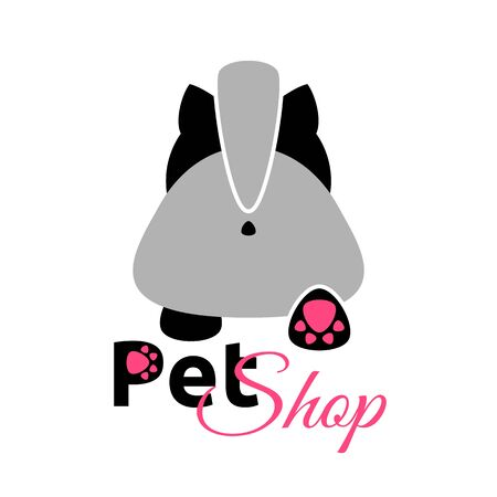 shop for animals: Pet Shop emblem, cute cartoon cat, vector icon Illustration