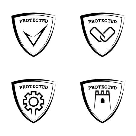 antivirus: Protected shields - set of antivirus icons, vector illustration Illustration