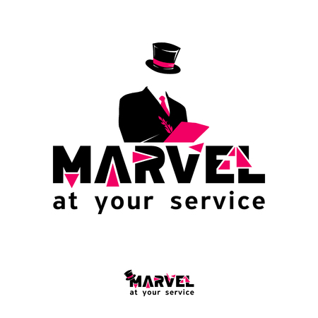 marvel: Vector template for service company, MARVEL at your service - icon, brand, emblem