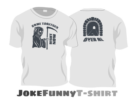 "Joke funny t-shirt - grim reaper say ""come together right now (front) over me (back)"""
