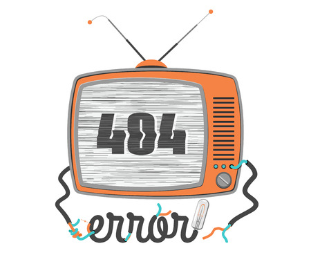 webmaster: 404 error - web masters dedicated, old funny tv with glitch screen, vector illustration Illustration