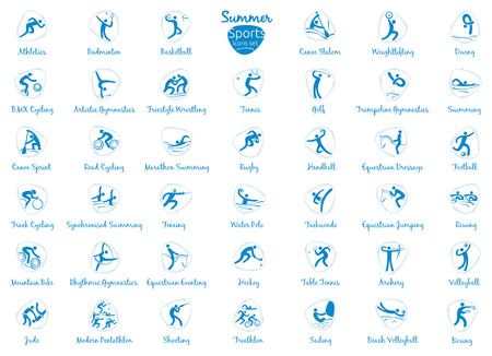 pentathlon: Summer sports icons set, vector pictograms for web, print and other projects.