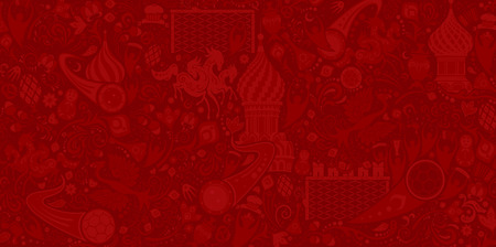 Russian red background, world of Russia pattern with modern and traditional elements, vector illustration