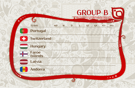 group b: Football qualifiers matches, group B table of results, layering, easy editable vector template