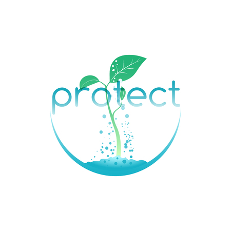 prudence: Protect for seedling, illustration for agriculture company or environment organization
