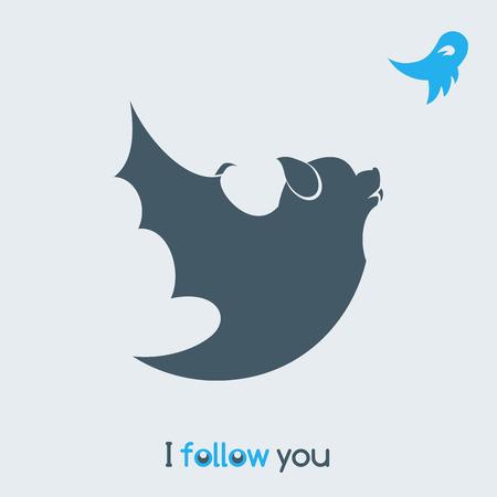 parody: Funny bat, satirical illustration
