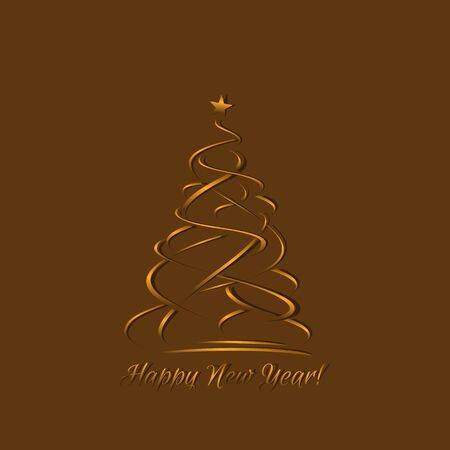 gold brown: Gold greeting card, template for laser cut out paper