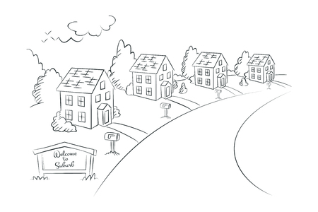 suburban street: Welcome to Suburb - monochrome linear illustration, suburban street with houses, vector