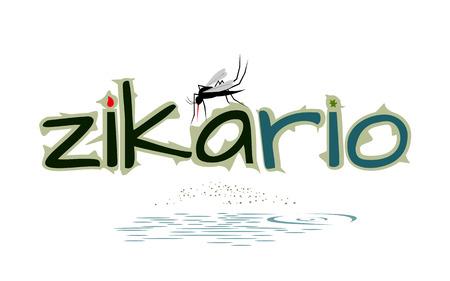 Dangerous mosquito - tropical river area, virus alert vector illustration