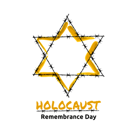 holocaust: Holocaust Remembrance Day, May 5, Jewish star in the barbed wire, vector illustration