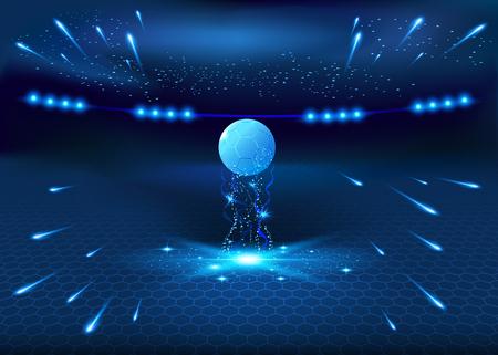 soccer stadium: Soccer night stadium - abstract vector background, blue glow illustration, football night stadium