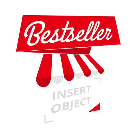 bestseller: Bestseller - red ribbon banner, trades or sales element, vector template