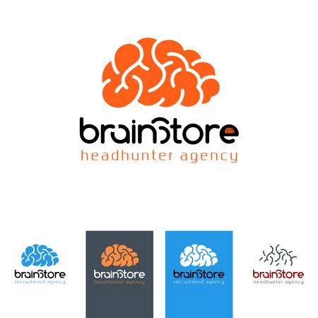 headhunter: Brain Store - logo for recruiting company, headhunter emblem, vector illustration