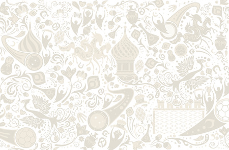 Russian background, world of Russia pattern with modern and traditional elements, vector illustration