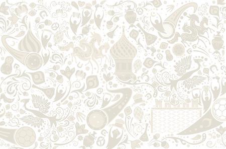 Rosyjskie tło, wzór świata Rosji z nowoczesnymi i tradycyjnymi elementami, ilustracji wektorowych Ilustracje wektorowe
