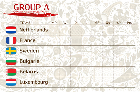 runner up: Football world championship 2018, European qualifiers matches, group A table of results, vector template