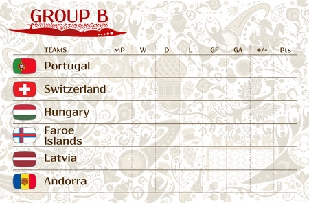 runner up: Football world championship 2018, European qualifiers matches, group B table of results, vector template Illustration