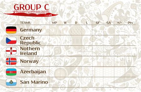 runner up: Football world championship 2018, European qualifiers matches, group C table of results, vector template