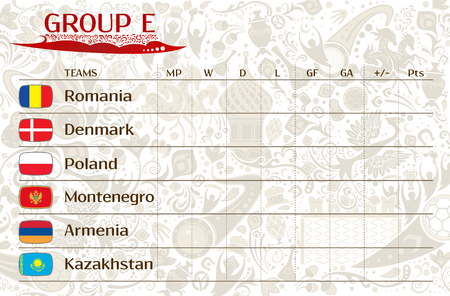 runner up: Football world championship 2018, European qualifiers matches, group E table of results, vector template