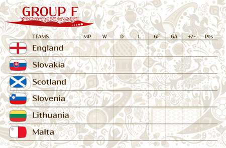 Football world championship 2018, European qualifiers matches, group F table of results, vector template Ilustração