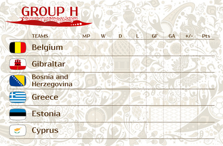 runner up: Football world championship 2018, European qualifiers matches, group H table of results, vector template