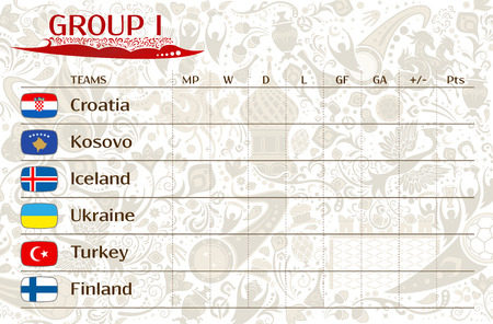 runner up: Football world championship 2018, European qualifiers matches, group I table of results, vector template