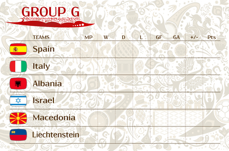runner up: Football world championship 2018, European qualifiers matches, group G table of results, vector template