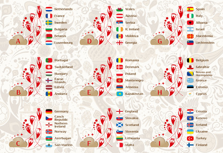 runner up: Football world championship 2018, European qualifiers matches, 9 groups tables of results, vector template Illustration