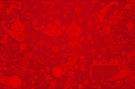 Russo sfondo rosso, mondo del modello di Russia con elementi moderni e tradizionali, illustrazione vettoriale