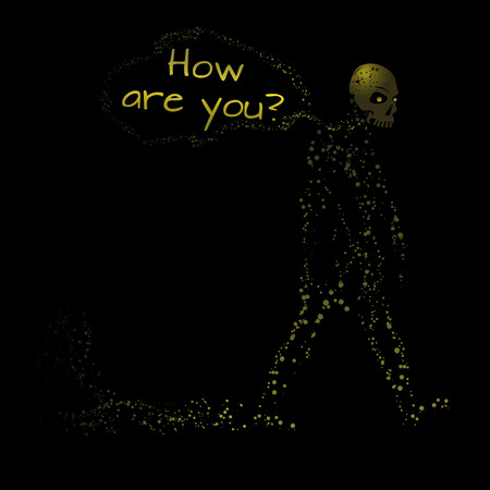 rot: Zombie ask: How are you? Illustration for Halloween