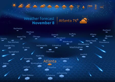 Weather forecast, US cities on interactiv map, set of icons, vector illustration
