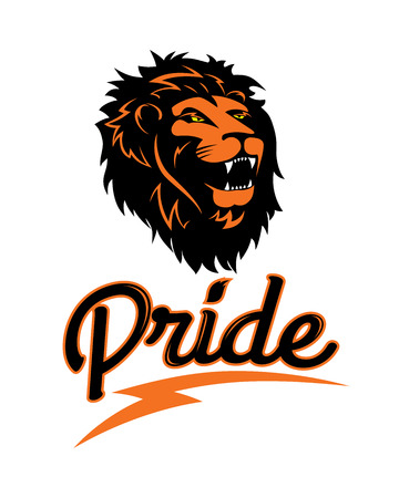 The logo of a lion, vintage lettering pride, emblem of the wild, aggressive king of animals, vector illustration