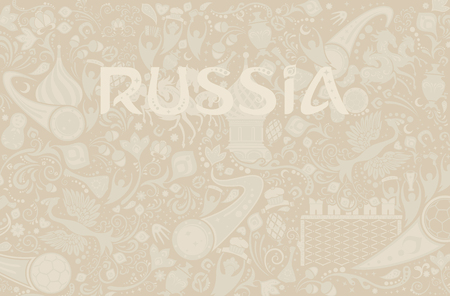 ecru: Russian ecru background, world of Russia pattern with modern and traditional elements, vector illustration Illustration