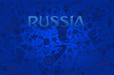 Russian blue background, world of Russia pattern with modern and traditional elements, vector illustration