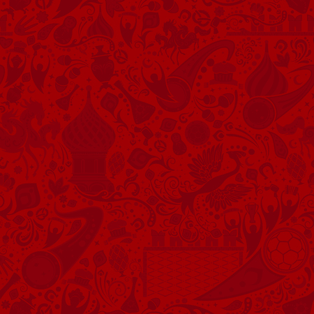 Russian red seamless pattern, world of Russia background with modern and traditional elements, vector illustration