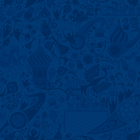 Russian blue seamless pattern, world of Russia background with modern and traditional elements, vector illustration