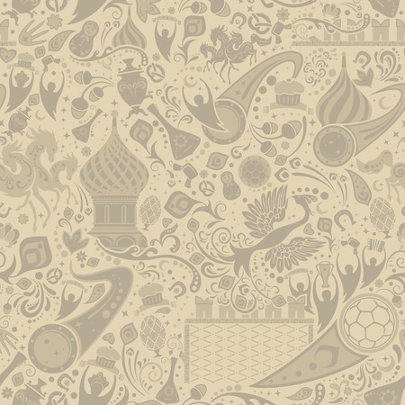 ecru: Russian ecru seamless pattern, world of Russia background with modern and traditional elements, vector illustration