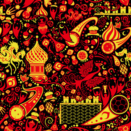 Russian hohloma seamless pattern, world of Russia background with modern and traditional elements, vector illustration