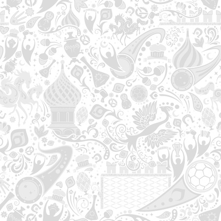 Russian grey seamless pattern, world of Russia background with modern and traditional elements, vector illustration