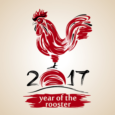 japanese script: Red rooster, fire cock, chinese calligraphy, traditional symbol of 2017 by eastern calendar, vector illustration