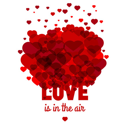 Love is in the air - greeting card for st. Valentines day celebration. Vector template.