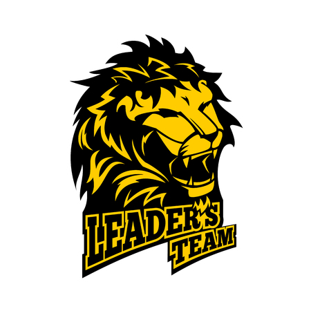 Leaders team - emblem for success workteam. Lion logo. Winner award. Vector illustration