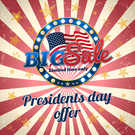 Presidents day offer, Big Sale, limited time only. Promotional banner. Vector template.