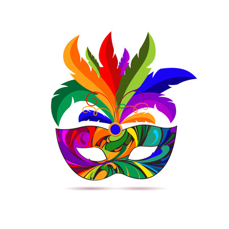 Carnival mask with colorful feathers. Vector illustration. Ilustração