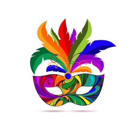 Karneval Maske mit bunten Federn. Vektor-Illustration.