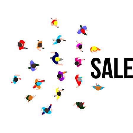 Vista superior personas en evento de venta. Banner para promociones minoristas. Ilustración vectorial