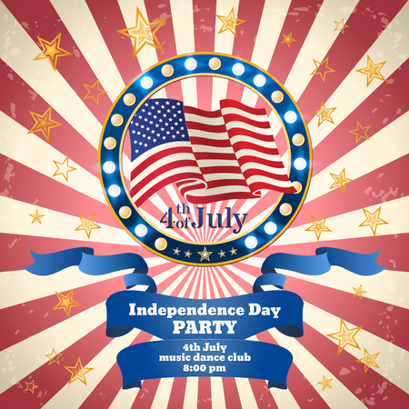Vintage poster or banner design in American Flag color for 4th of July, Independence Day Party celebration. Vector template